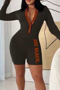 Black Sexy Print Split Joint Buttons Mandarin Collar Regular Jumpsuits