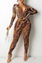 Brownness Sexy Print Split Joint Turndown Collar Long Sleeve Two Pieces
