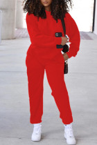Red Fashion Casual Solid Split Joint O Neck Long Sleeve Two Pieces