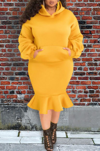 Yellow Casual Solid Split Joint Pocket Fold Hooded Collar Plus Size Two Pieces