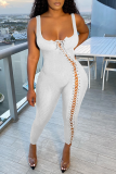White Sexy Solid Split Joint Square Collar Skinny Jumpsuits