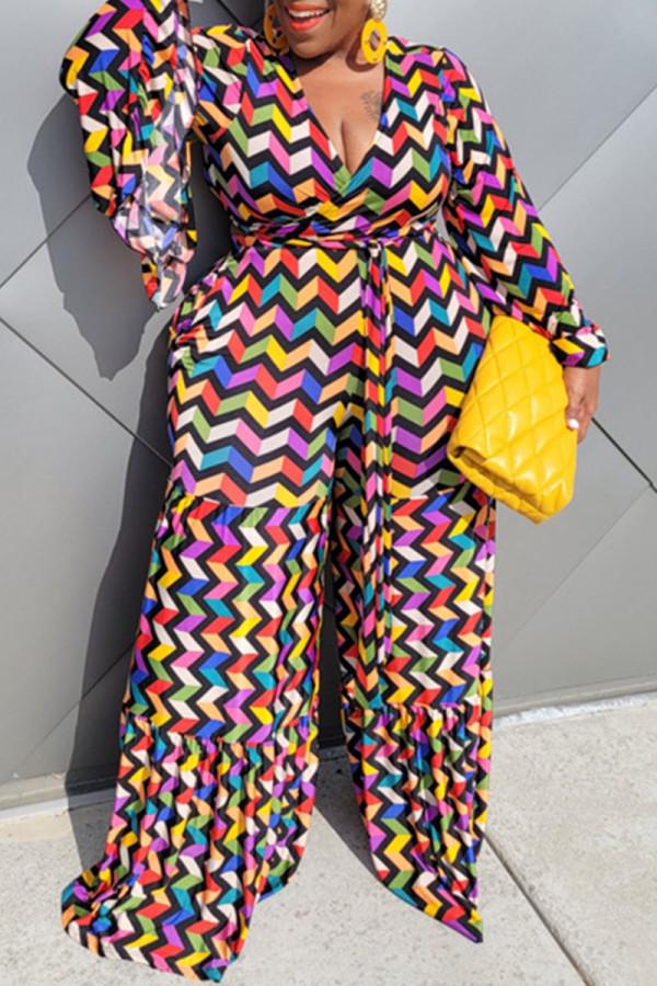 Colour Casual Print Split Joint V Neck Plus Size Jumpsuits