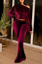 Burgundy Casual Solid Split Joint One Shoulder Long Sleeve Two Pieces
