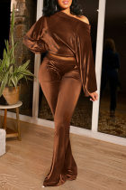 Coffee Casual Solid Split Joint One Shoulder Long Sleeve Two Pieces