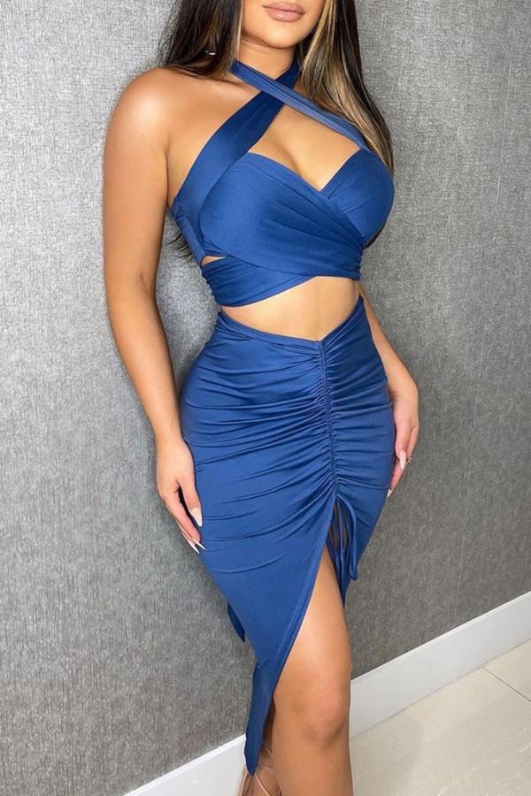 Blue Fashion Street Print Split Joint Halter Sleeveless Two Pieces