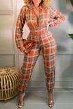Orange Fashion  Simplicity Plaid Split Joint Turndown Collar Jumpsuits