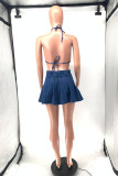 Blue Sexy Casual Solid Bandage Backless Halter Sleeveless Two Pieces
