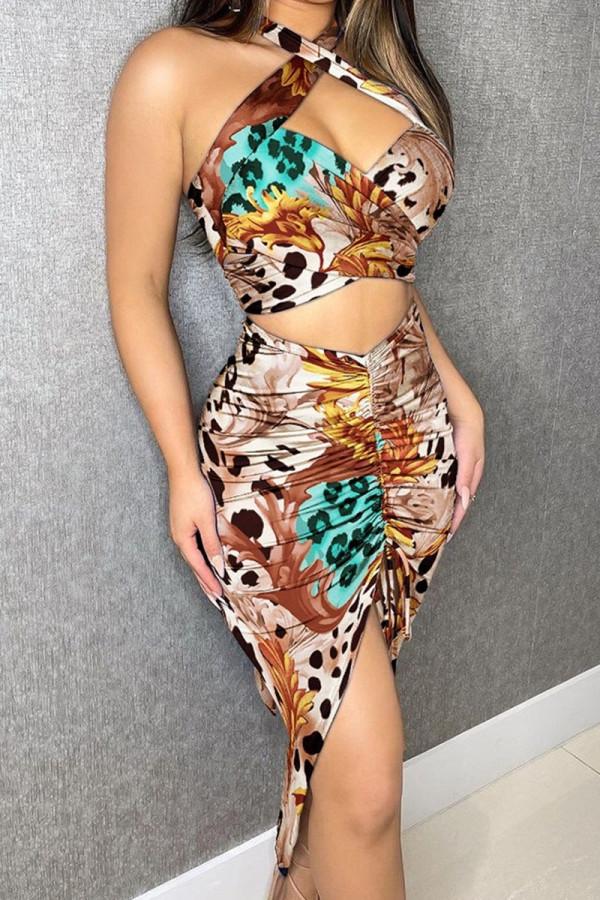 Leopard Print Fashion Street Print Split Joint Halter Sleeveless Two Pieces