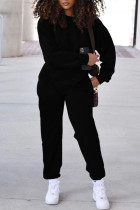 Black Fashion Casual Solid Split Joint O Neck Long Sleeve Two Pieces