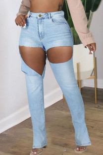 Light Blue Fashion Street Solid Ripped Plus Size Jeans