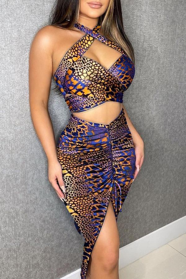 Purple Fashion Street Print Split Joint Halter Sleeveless Two Pieces