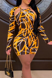 Yellow Sexy Print Hollowed Out Split Joint O Neck Skinny Jumpsuits