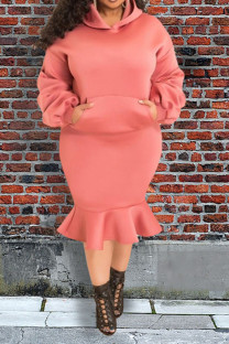 Pink Casual Solid Split Joint Pocket Fold Hooded Collar Plus Size Two Pieces
