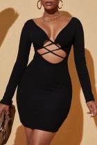 Black Fashion Street Solid Bandage V Neck One Step Skirt Dresses