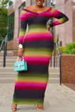 Multicolor Fashion Casual Print Split Joint V Neck One Step Skirt Dresses