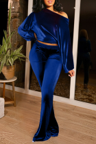 Blue Casual Solid Split Joint One Shoulder Long Sleeve Two Pieces