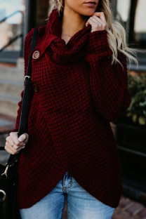 Wine Red Fashion Casual Solid Split Joint Turtleneck Tops