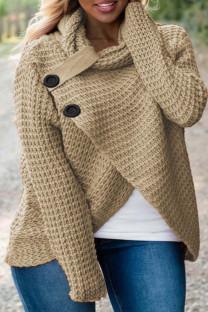 Khaki Fashion Casual Solid Split Joint Turtleneck Tops