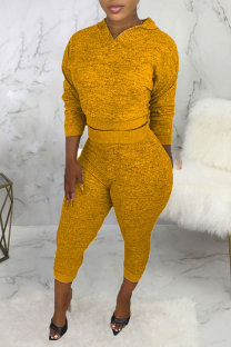 Yellow Casual Solid Split Joint Hooded Collar Long Sleeve Two Pieces