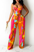 Colour Fashion Casual Print Split Joint Spaghetti Strap Sleeveless Two Pieces
