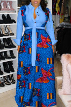 Light Blue Fashion Sexy Print Split Joint Turndown Collar A Line Dresses