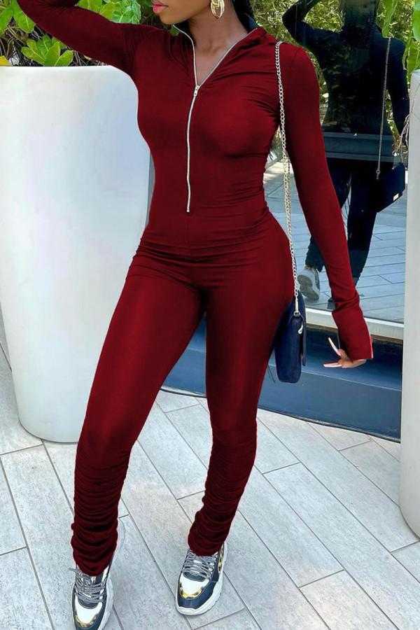 Burgundy Fashion Street Solid Split Joint Zipper Collar Jumpsuits