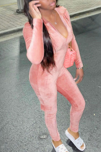 Pink Sexy Solid Split Joint Zipper Collar Regular Jumpsuits