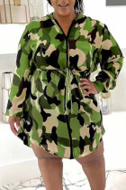 Green Casual Print Camouflage Print Split Joint Zipper Hooded Collar Plus Size Overcoat