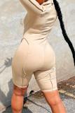 Khaki Fashion Casual Solid Split Joint Zipper Collar Skinny Romper