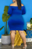 Blue Sexy Solid Split Joint Draw String Fold V Neck One Step Skirt Plus Size Dresses