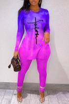 Purple Casual Gradual Change Print Split Joint Slit O Neck Long Sleeve Two Pieces