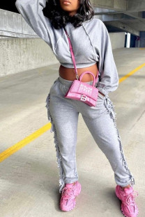 Grey Fashion Casual Solid Tassel Hooded Collar Long Sleeve Two Pieces