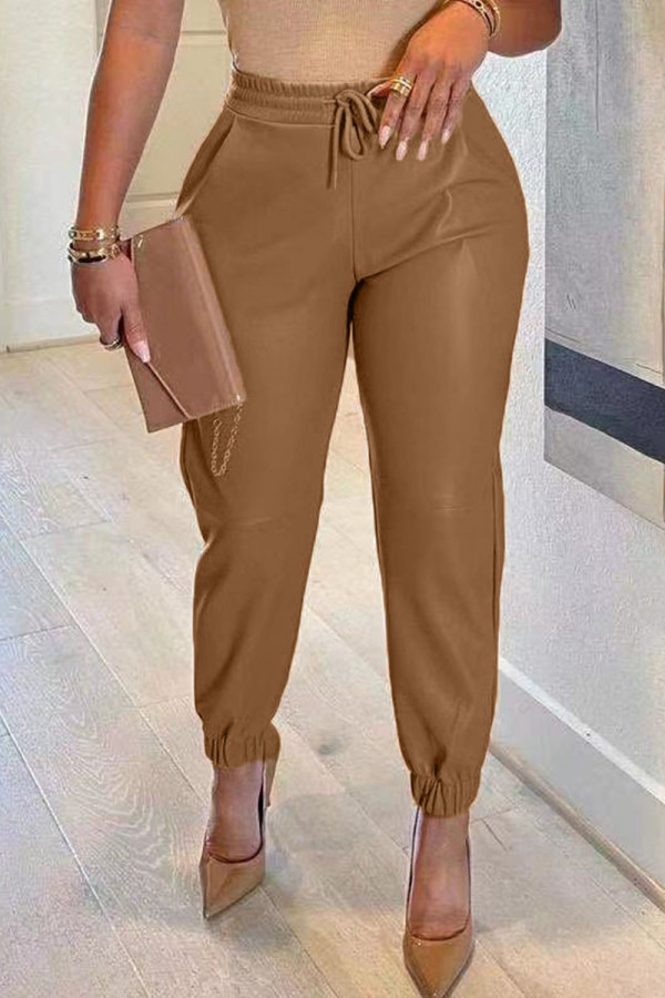 Coffee Casual Solid Split Joint Regular High Waist Pencil Solid Color Bottoms