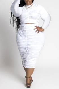 White Casual Solid Split Joint Fold O Neck Plus Size Two Pieces