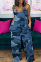 Blue Casual Camouflage Print Split Joint Spaghetti Strap Loose Jumpsuits