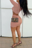 Pink Sexy Casual Solid Hollowed Out O Neck Long Sleeve Two Pieces