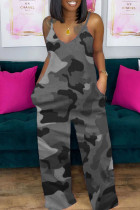 Grey Casual Camouflage Print Split Joint Spaghetti Strap Loose Jumpsuits