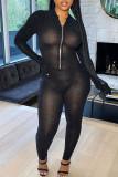 Black Sexy Solid Split Joint Zipper Collar Skinny Jumpsuits