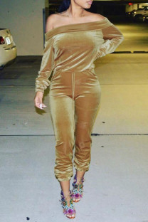 Khaki Sexy Solid Split Joint Off the Shoulder Long Sleeve Two Pieces