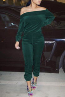 Ink Green Sexy Solid Split Joint Off the Shoulder Long Sleeve Two Pieces