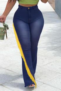 Dark Blue Street Solid Tassel Split Joint High Waist Boot Cut Denim Jeans
