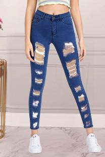 Dark Blue Fashion Street Solid Split Joint Denim Jeans