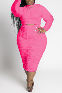 Pink Casual Solid Split Joint Fold O Neck Plus Size Two Pieces