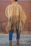 Khaki Fashion Vintage Solid Tassel Turtleneck Plus Size Overcoat