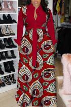 Burgundy Fashion Sexy Print Split Joint Turndown Collar A Line Dresses