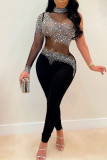 Black Sexy Solid Split Joint See-through Asymmetrical Hot Drill Half A Turtleneck Skinny Jumpsuits