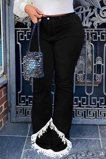 Black Street Solid Tassel Split Joint High Waist Boot Cut Denim Jeans