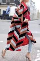 Brown Street Camouflage Print Split Joint Turndown Collar Outerwear