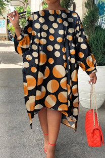 Brown Fashion Print Polka Dot Split Joint Asymmetrical Off the Shoulder Straight Dresses