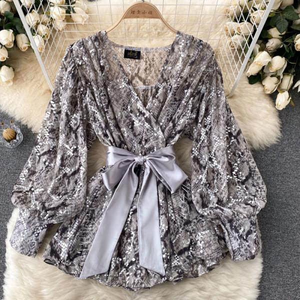 Grey Sexy Print Lace Split Joint V Neck Tops